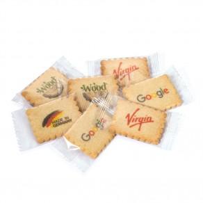 4-farbig bedruckter logolini-Vanille-Butterkeks, einzeln in Klarsichtfolie verpackt