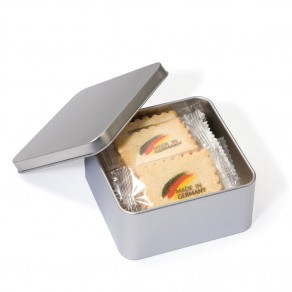 12 x 4C bedruckte Vanille-Butterkekse in Metallbox