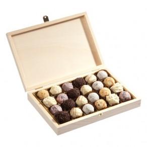 24 Trüffelpralinen in Holzbox