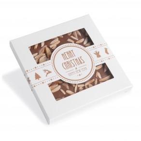 Handgeschöpfte Schokolade in quadratischer Kartonage mit Sichtfenster-Xmas