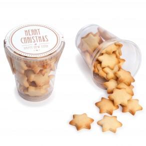 Butterkeks-Sterne im Klarsichtbecher