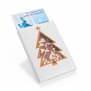 Handgeschöpfte Schokolade in Sichtfensterkartonage Tannenbaum