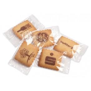 Bedruckter logolini-Vanille-Butterkeks einzeln in Klarsichtfolie verpackt