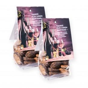 logolini-Brotchips im Bodenbeutel mit Faltetikett
