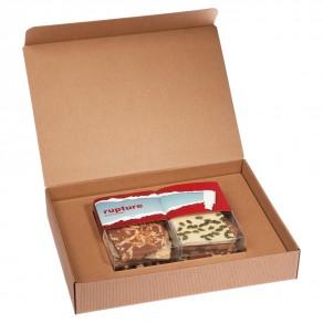 Handgeschöpfte Schokolade-Präsentbox im Zweier-Set