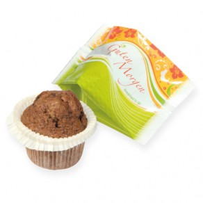 logolini-Schoko-Muffin in bedruckter Folie