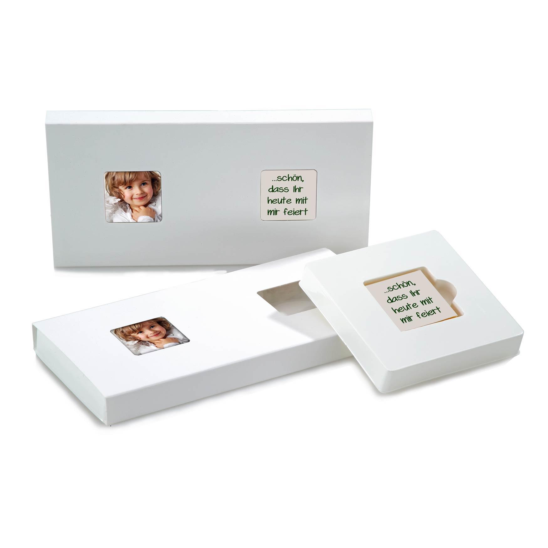 16 x 2 bedruckte Fotokekse in Kartonage mit Sichtfenster