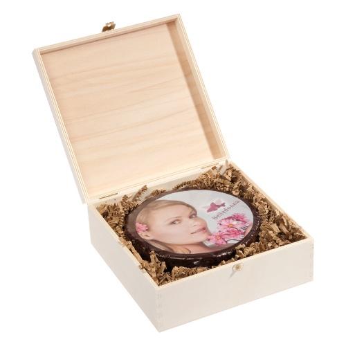 Bedruckte runde Schokotorte in edler Holzbox – 14 cm ∅