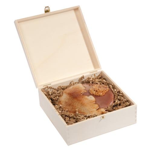 Abgeflämmte Schokotorte in Holzbox – 14 cm ∅