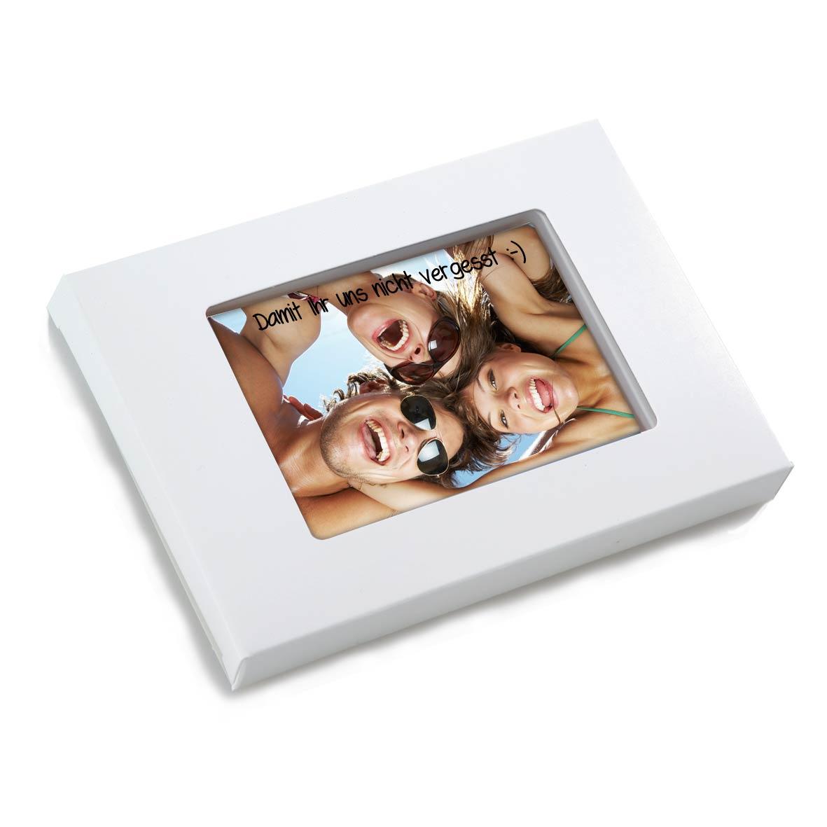 8 x 1 Leckere Grußkarte in edler Kartonage mit Sichtfenster